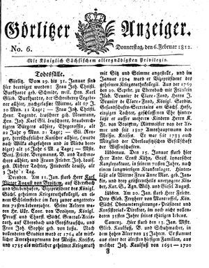 Görlitzer Anzeiger vom 06.02.1812