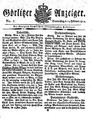 Görlitzer Anzeiger vom 13.02.1812