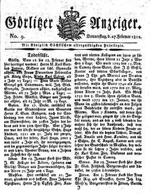 Görlitzer Anzeiger vom 27.02.1812