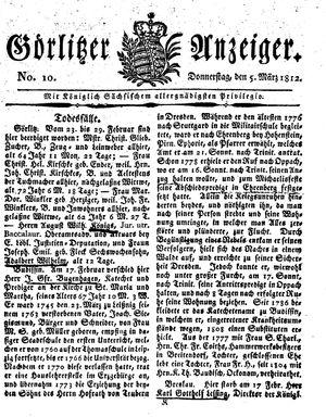 Görlitzer Anzeiger vom 05.03.1812