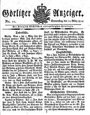 Görlitzer Anzeiger vom 12.03.1812