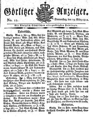 Görlitzer Anzeiger on Mar 19, 1812