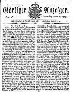 Görlitzer Anzeiger on Mar 26, 1812