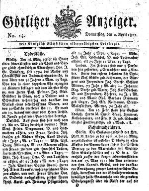 Görlitzer Anzeiger vom 02.04.1812