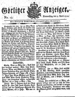 Görlitzer Anzeiger vom 09.04.1812