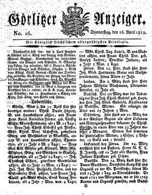 Görlitzer Anzeiger vom 16.04.1812