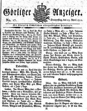 Görlitzer Anzeiger vom 23.04.1812