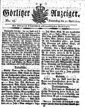 Görlitzer Anzeiger vom 30.04.1812