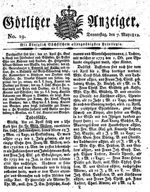 Görlitzer Anzeiger vom 07.05.1812
