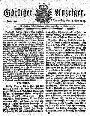 Görlitzer Anzeiger vom 14.05.1812