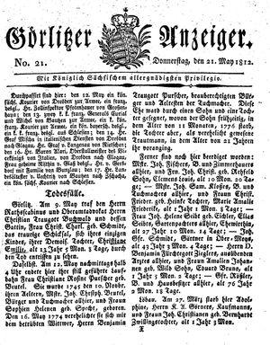 Görlitzer Anzeiger vom 21.05.1812