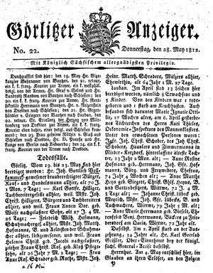 Görlitzer Anzeiger vom 28.05.1812