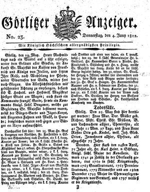 Görlitzer Anzeiger vom 04.06.1812