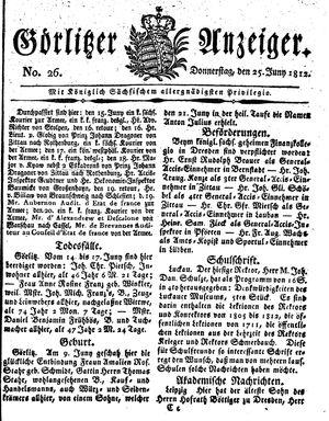 Görlitzer Anzeiger vom 25.06.1812