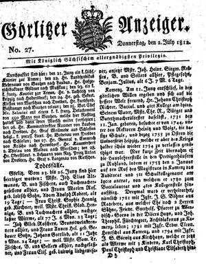 Görlitzer Anzeiger vom 02.07.1812
