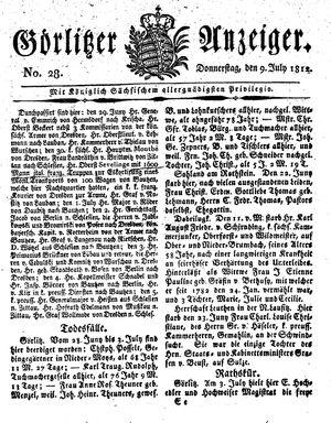 Görlitzer Anzeiger vom 09.07.1812