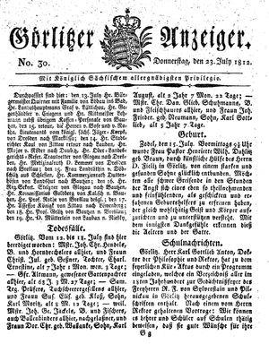Görlitzer Anzeiger vom 23.07.1812