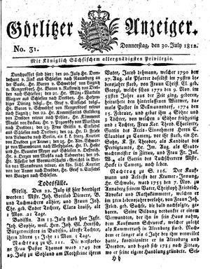 Görlitzer Anzeiger vom 30.07.1812