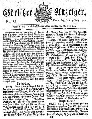 Görlitzer Anzeiger vom 13.08.1812