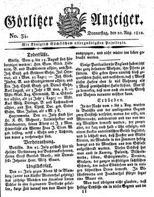Görlitzer Anzeiger vom 20.08.1812