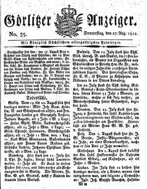 Görlitzer Anzeiger vom 27.08.1812