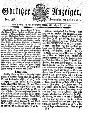 Görlitzer Anzeiger vom 03.09.1812