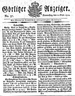 Görlitzer Anzeiger vom 10.09.1812