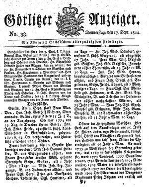 Görlitzer Anzeiger vom 17.09.1812