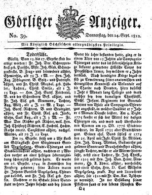 Görlitzer Anzeiger vom 24.09.1812