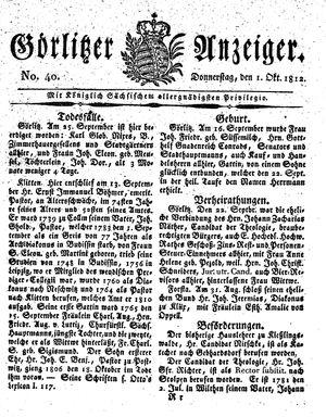 Görlitzer Anzeiger vom 01.10.1812
