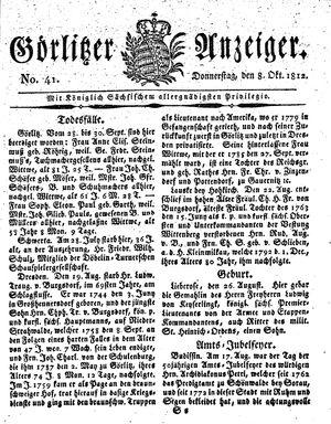 Görlitzer Anzeiger on Oct 8, 1812