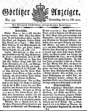 Görlitzer Anzeiger vom 22.10.1812