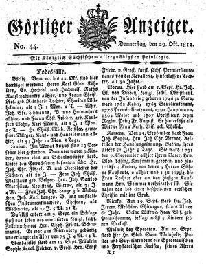 Görlitzer Anzeiger vom 29.10.1812