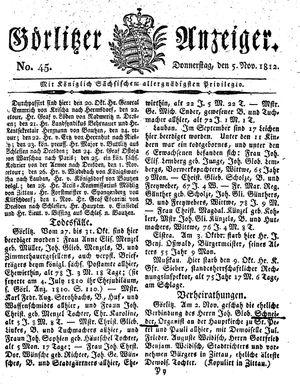 Görlitzer Anzeiger vom 05.11.1812