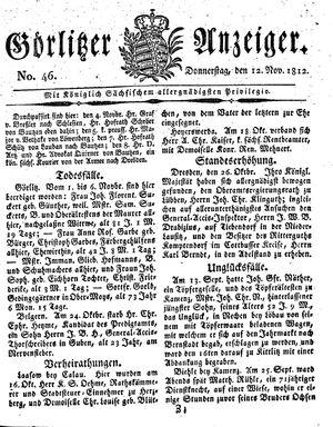Görlitzer Anzeiger vom 12.11.1812