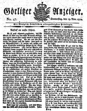 Görlitzer Anzeiger vom 19.11.1812