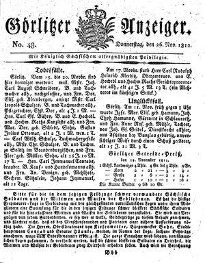 Görlitzer Anzeiger on Nov 26, 1812