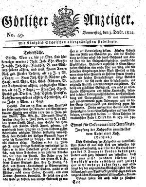 Görlitzer Anzeiger vom 03.12.1812
