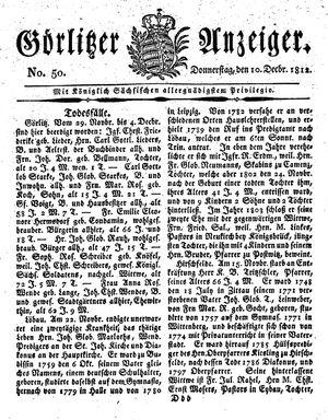 Görlitzer Anzeiger vom 10.12.1812