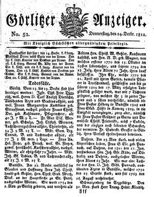 Görlitzer Anzeiger vom 24.12.1812