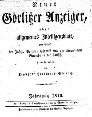 Görlitzer Anzeiger vom 01.01.1813