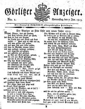 Görlitzer Anzeiger on Jan 7, 1813