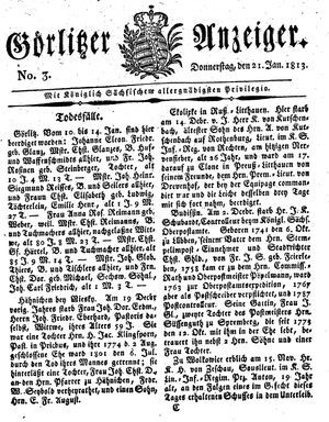 Görlitzer Anzeiger vom 21.01.1813