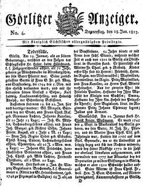 Görlitzer Anzeiger vom 28.01.1813