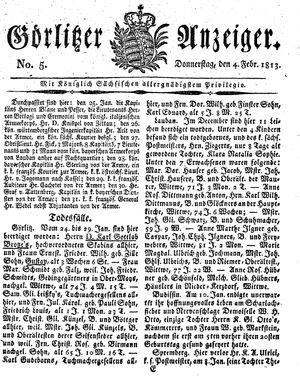 Görlitzer Anzeiger vom 04.02.1813