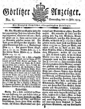 Görlitzer Anzeiger vom 11.02.1813