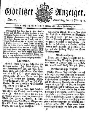 Görlitzer Anzeiger vom 18.02.1813