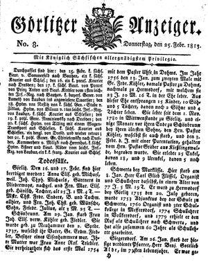 Görlitzer Anzeiger vom 25.02.1813