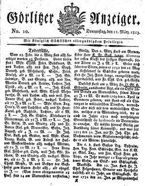 Görlitzer Anzeiger vom 11.03.1813