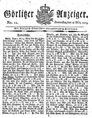 Görlitzer Anzeiger vom 18.03.1813